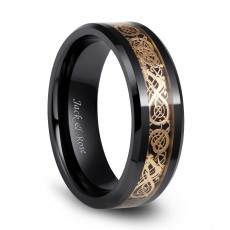 Gold Celtic Dragon Ceramic Wedding Engagement Rings Vintage Style for Men 8mm