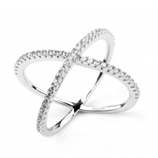 Sterling Silver Criss Cross Rings with Cubic Zirconia Eternity Engagement Band