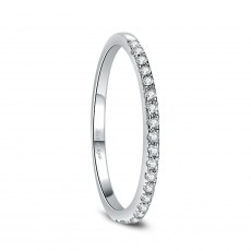Sterling Silver Engagement Rings for Women with Cubic Zirconia Stackable Eternity Ring