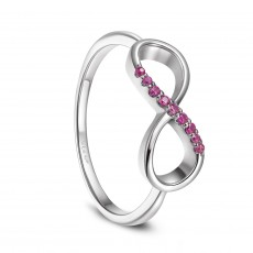 Infinity Sterling Silver Wedding Bands with Pink Cubic Zirconia Stones Promise Band
