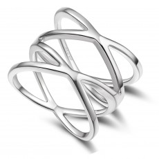 Unique Sterling Silver Promise Rings Criss Cross Style for women
