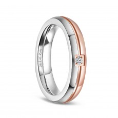 Rose Gold Titanium Wedding Ring Sets with CZ for Women 4mm