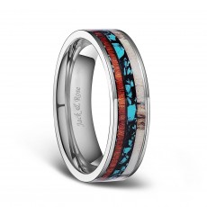 Titanium Wedding Bands with Deer Antlers and Turquoise Wood Inlay 6mm 8mm