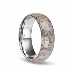 Titanium Wedding Rings with Dome Deer Antler for men 8mm
