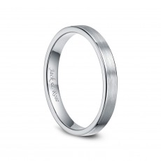 White Tungsten Womens Rings Brushed Flat Style 3mm