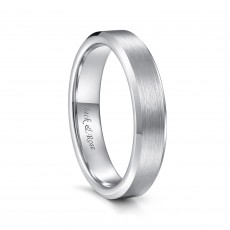 Silver Tungsten Wedding Bands for Men Women Brushed Center and Beveled Edge - 4mm - 8mm