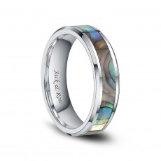 Abalone Shell Tungsten Engagement Wedding Ring Comfort Fit 6mm 8mm