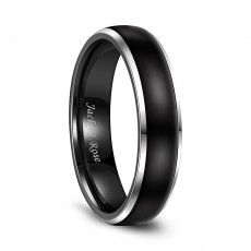 Two Tone Tungsten Wedding Bands with Black Domed Polished and Beveled Edges