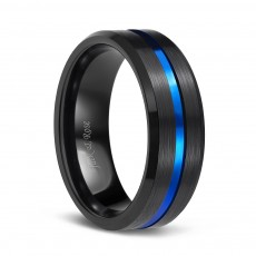 Brushed Black Tungsten Band Rings with Blue Grooved Center