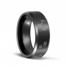 Laser Etched Deer Head Scene Black Mens Tungsten Hunting Rings