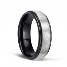 Men's Silver Brushed Tungsten Wedding Rings with Black Plated 8mm