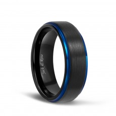 Black and Blue Mens Tungsten Carbide Wedding Rings with Brushed Center