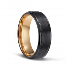 Mens Rose Gold Plated Tungsten Engagement Bands with Black Brushed Center