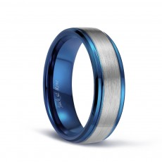 Blue Plated Tungsten Silver Brushed Wedding Bands for Him