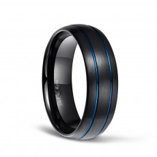 Black Tungsten Ring for Men Blue Thin Groove Line Dome Brushed Comfort Fit
