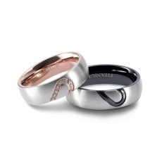 Rose Gold and Black Matching Couple Rings Set