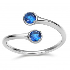 Sterling Silver December Birthstone Rings - Sapphire