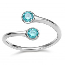 December Birthstone Rings Sterling Silver Rings - Aquamarine