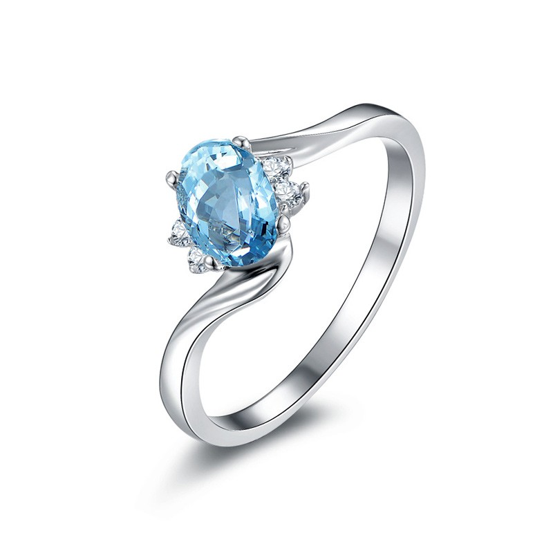 Natural Blue Topaz with Natural Diamond Ring in 925 Sterling Silver