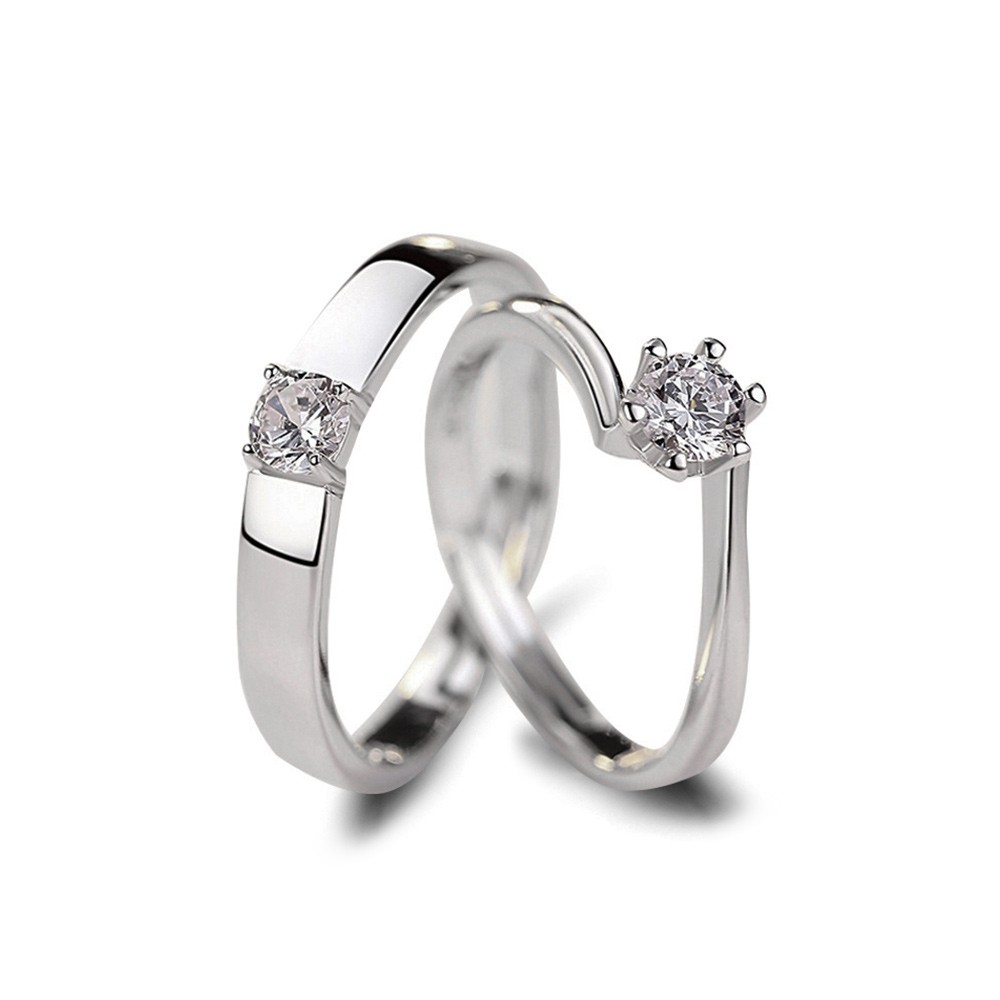 This is a picture of Sterling Silver Cubic Zirconia Couple Wedding Rings