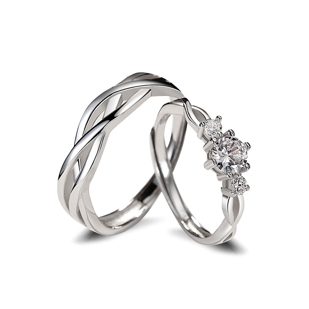 Infinity Sterling Silver Couple Rings Engagement Rings