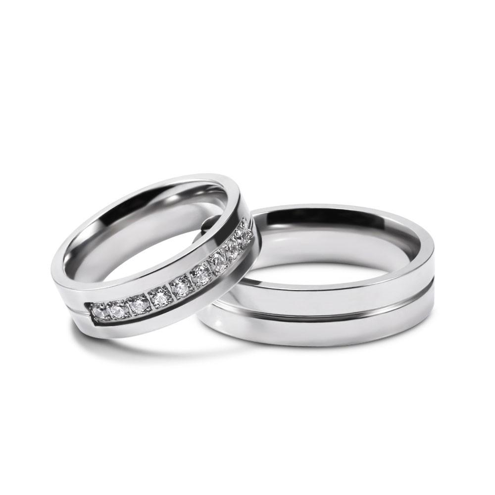 6MM//7MM Rose Gold//Black Titanium Steel Couple Rings Men//Womens CZ Band Size 5-12