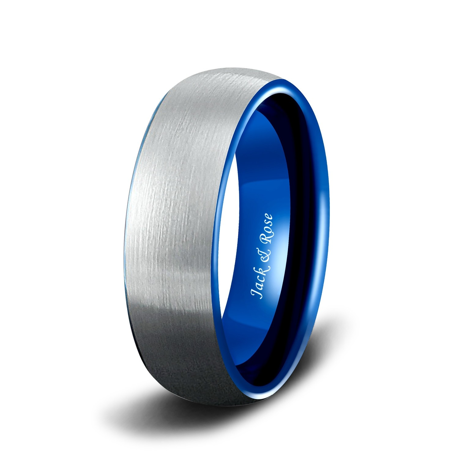 It is a picture of Mens Tungsten Carbide Wedding Bands with Blue Two Tone Brushed