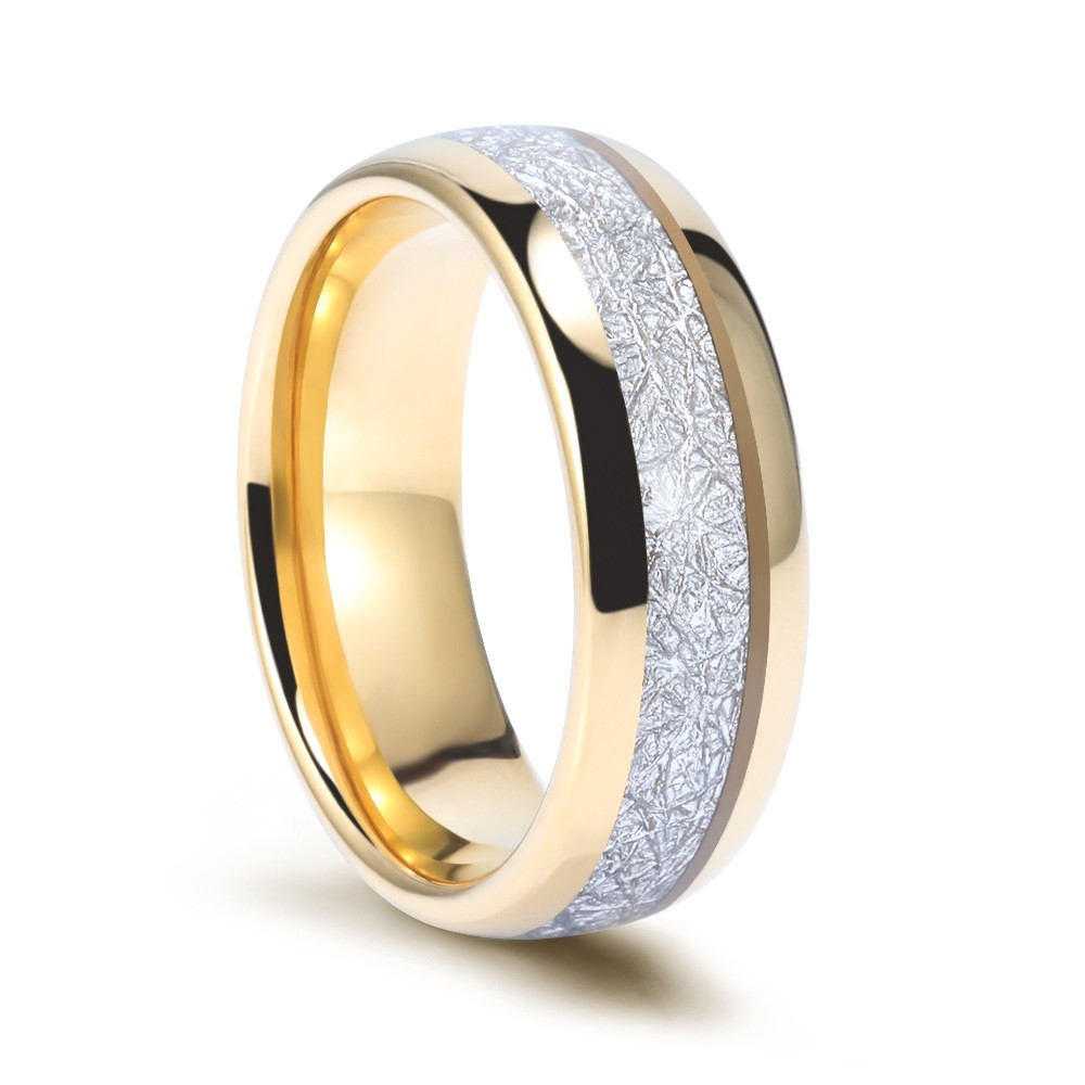 This is an image of Tungsten Meteorite Wedding Bands Gold Plated