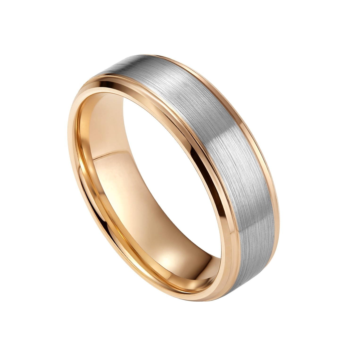 Womens Mens Wedding Bands Rose Gold And Silver Brushed With Stepped Edge 8mm 04