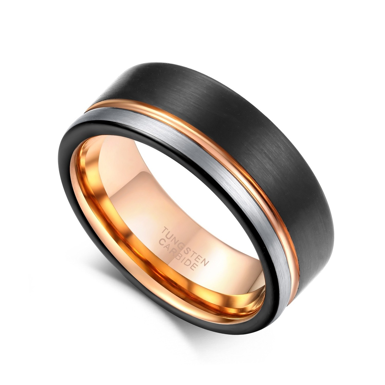 8mm Matte Black Domed Tungsten Carbide Wedding Ring with a Rose Gold Lining