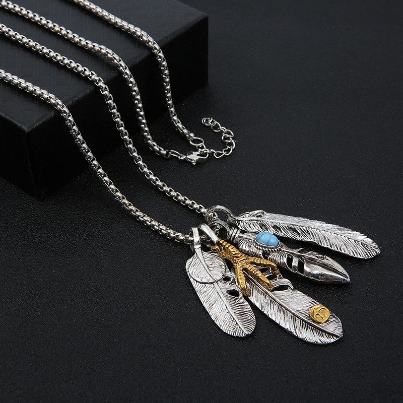 Sterling Silver Necklace Punk Necklace Necklace For Him Leather Cord Necklace Feather Charms Necklace