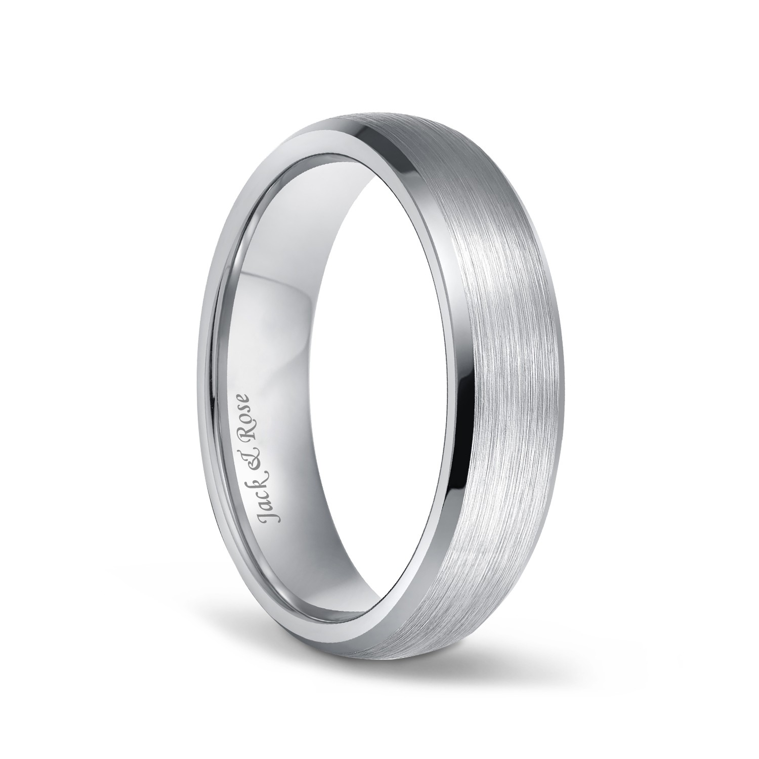 Titanium And Silver 8 mm Inlay Brushed Wedding Band Fine Jewelry Ideal Gifts For Women