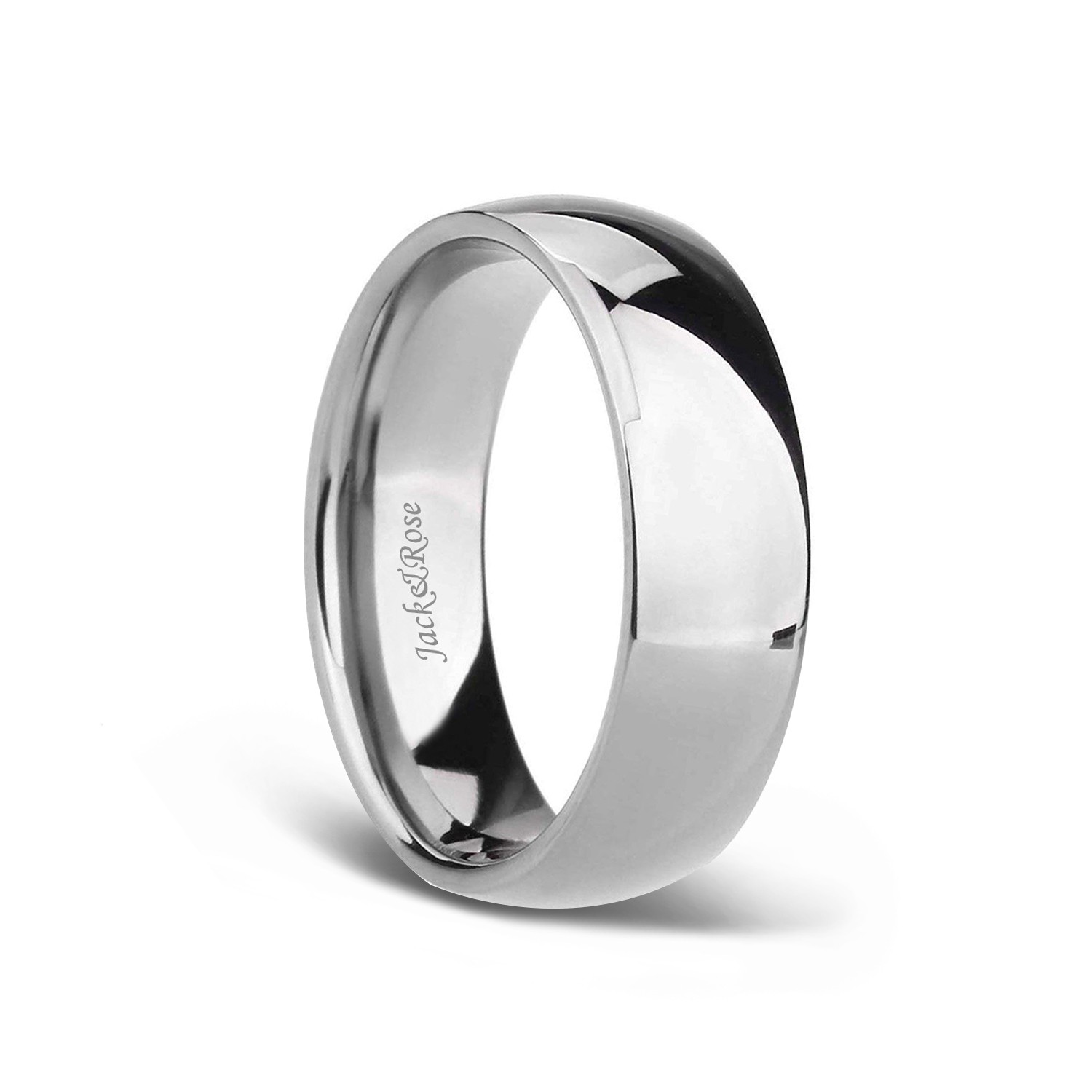 White Plain Titanium Wedding Bands For Men Women With Dome Polished