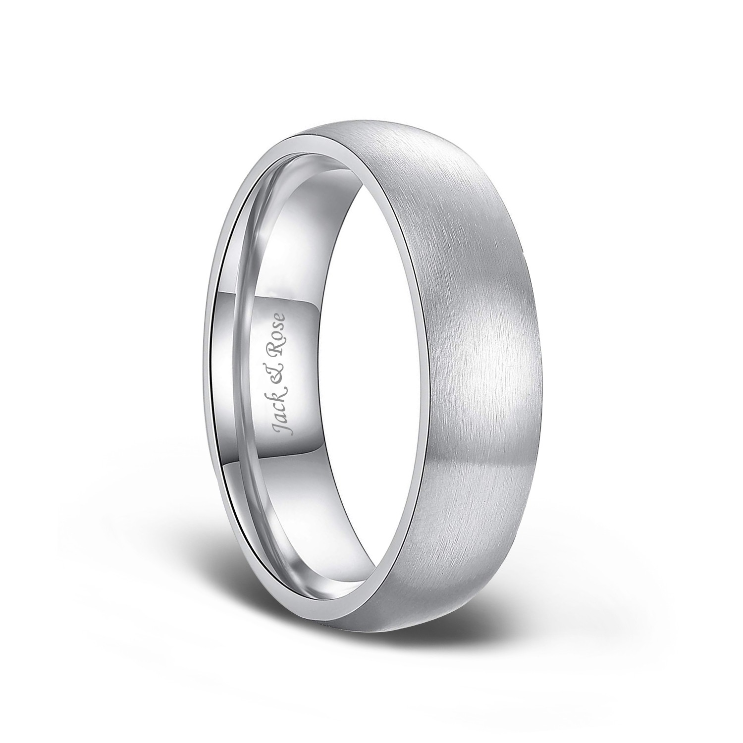 6mm White Titanium Classic Domed Brushed Finish Wedding Band Ring For Men Or Ladies