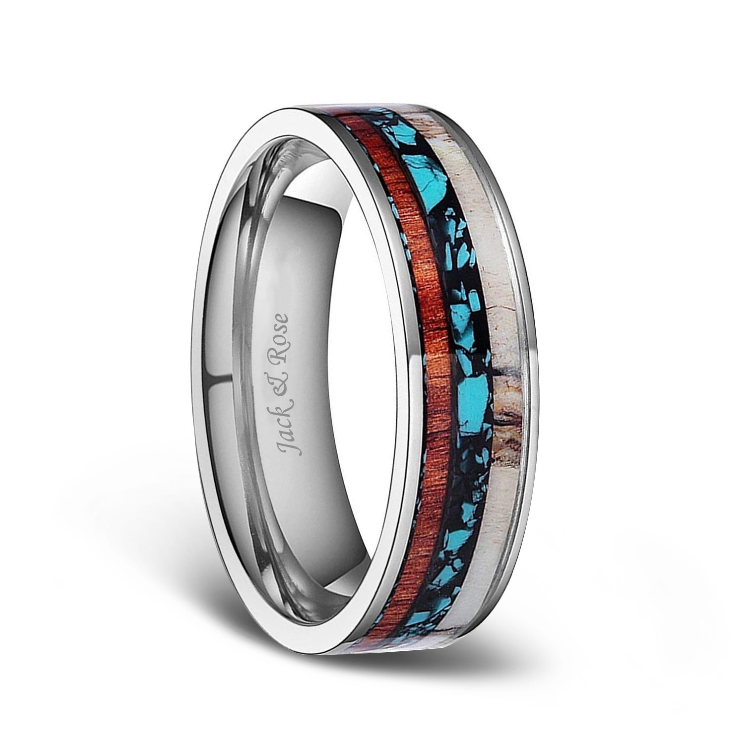 Titanium Wedding Bands With Deer Antlers And Turquoise Wood Inlay 6mm: Antler Wedding Ring Turquoise At Websimilar.org