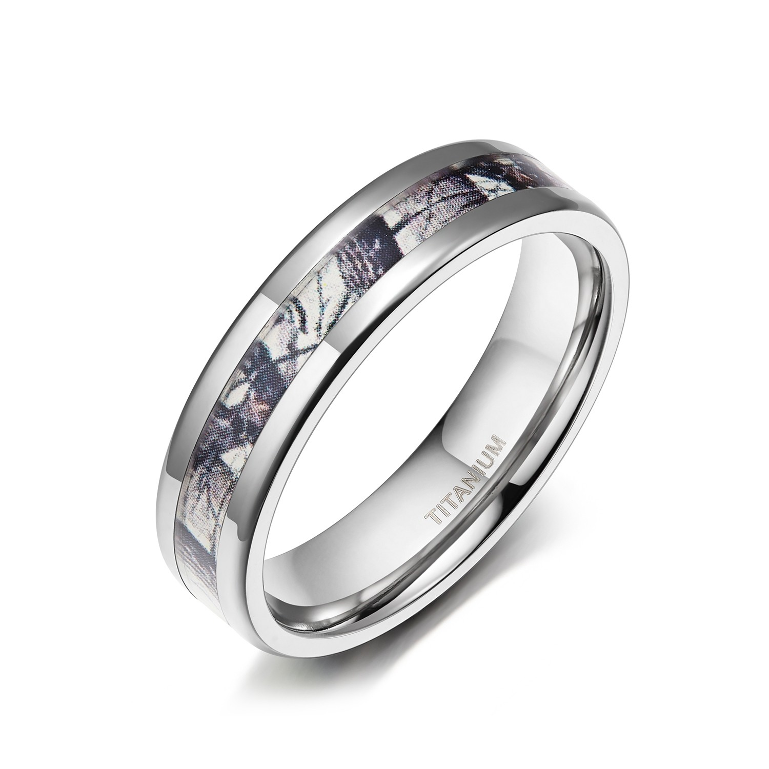 Titanium Camo Wedding Bands For Him And Her 6mm 8mm