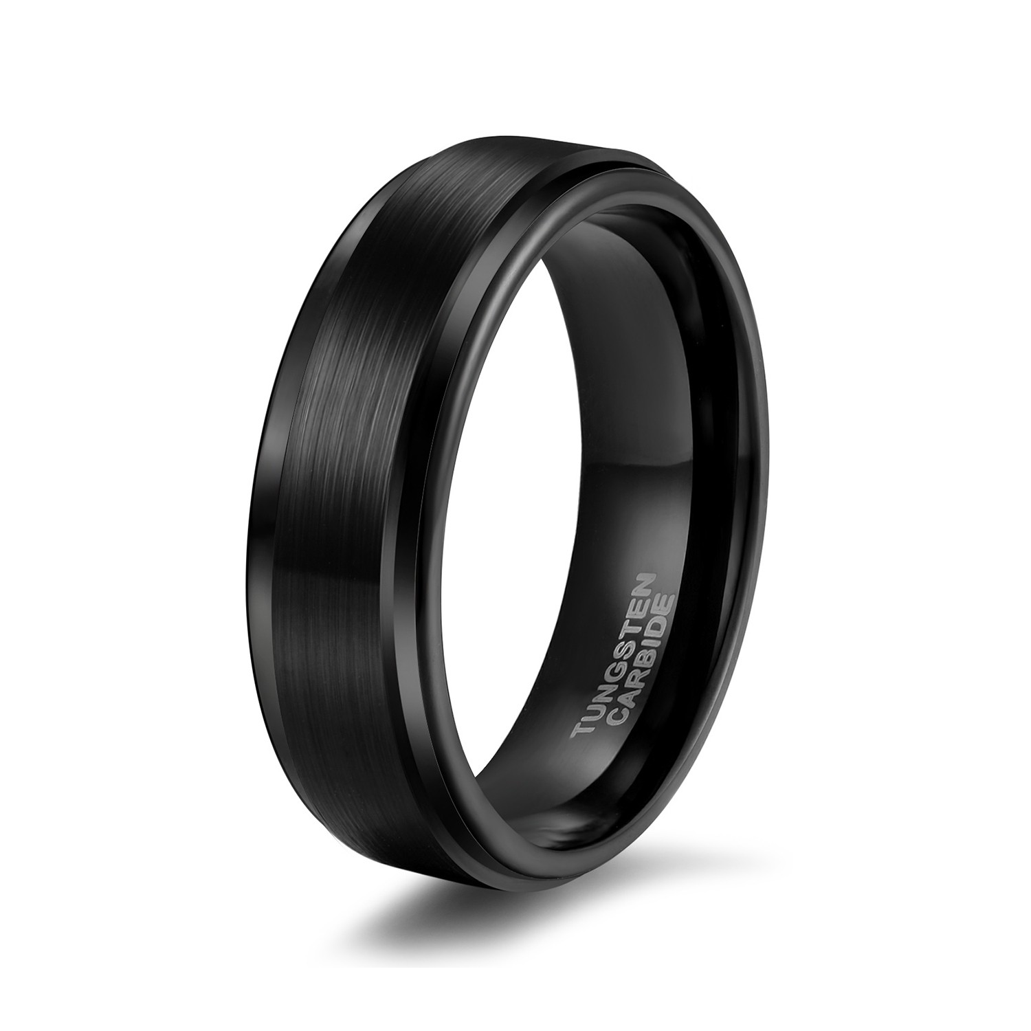 Brushed Tungsten Mens Wedding Bands Black Stepped Edge 6mm 8mm