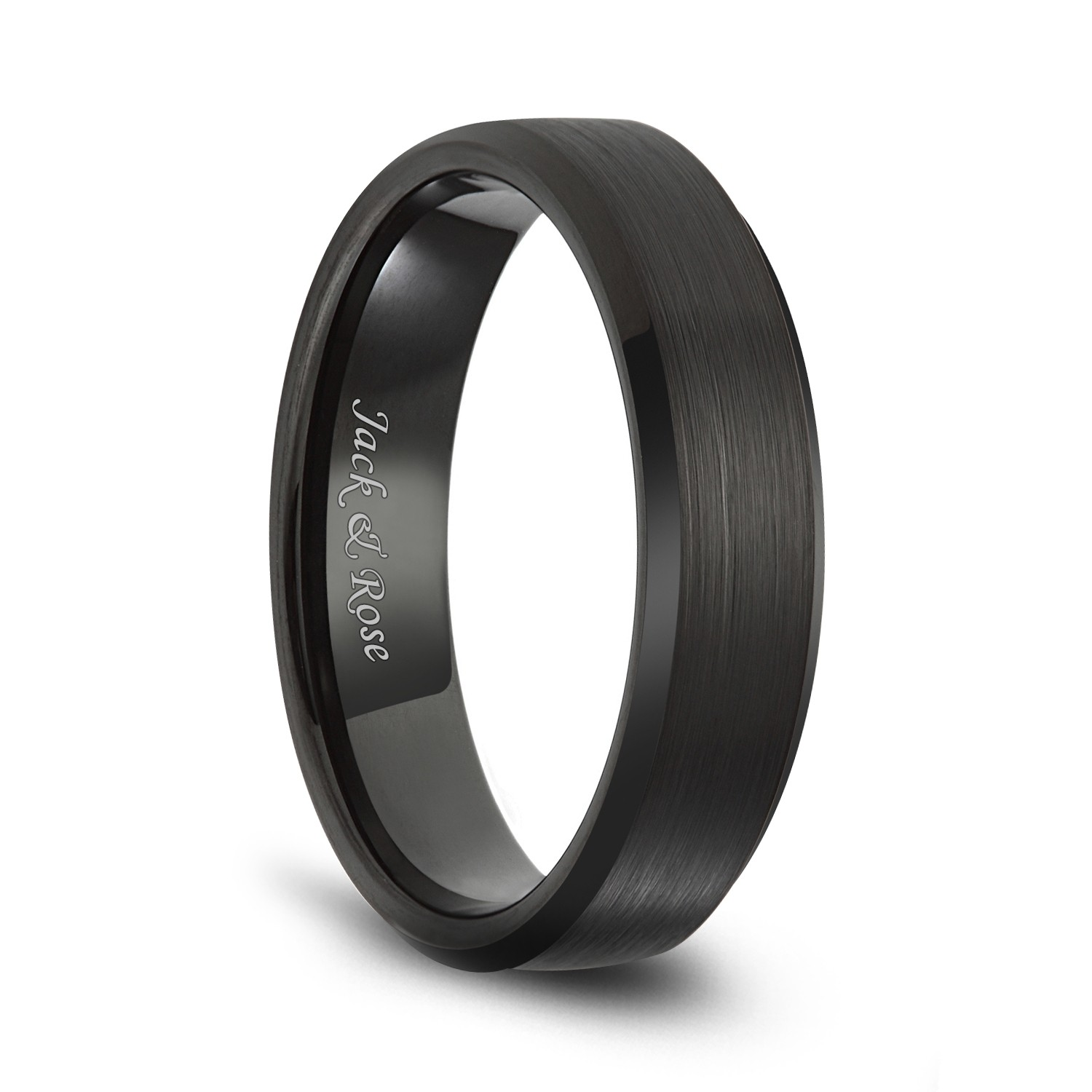 Black Tungsten Wedding Bands With Matte Brushed And Beveled Edges For Men Women 6mm: Black Metal Wedding Bands At Reisefeber.org
