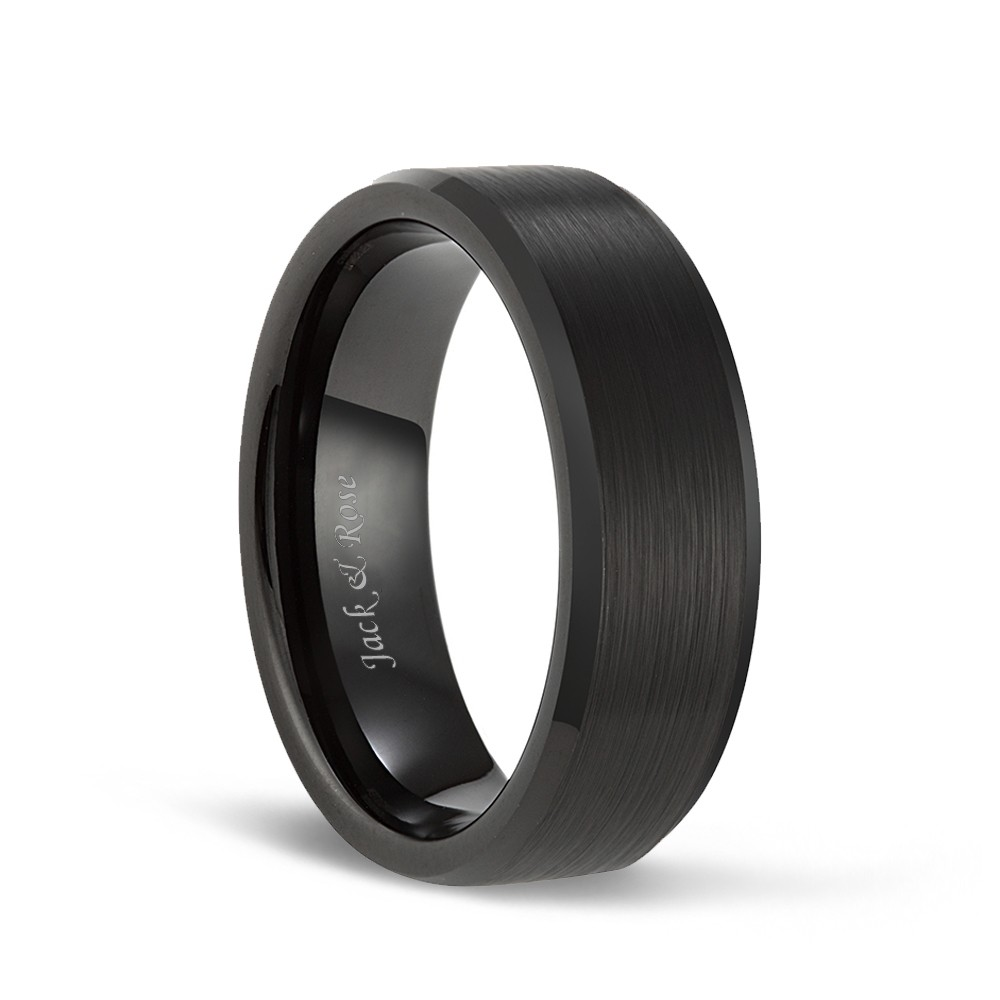 It is just a picture of Black Tungsten Wedding Bands with Matte Brushed and Beveled Edges for Men Women