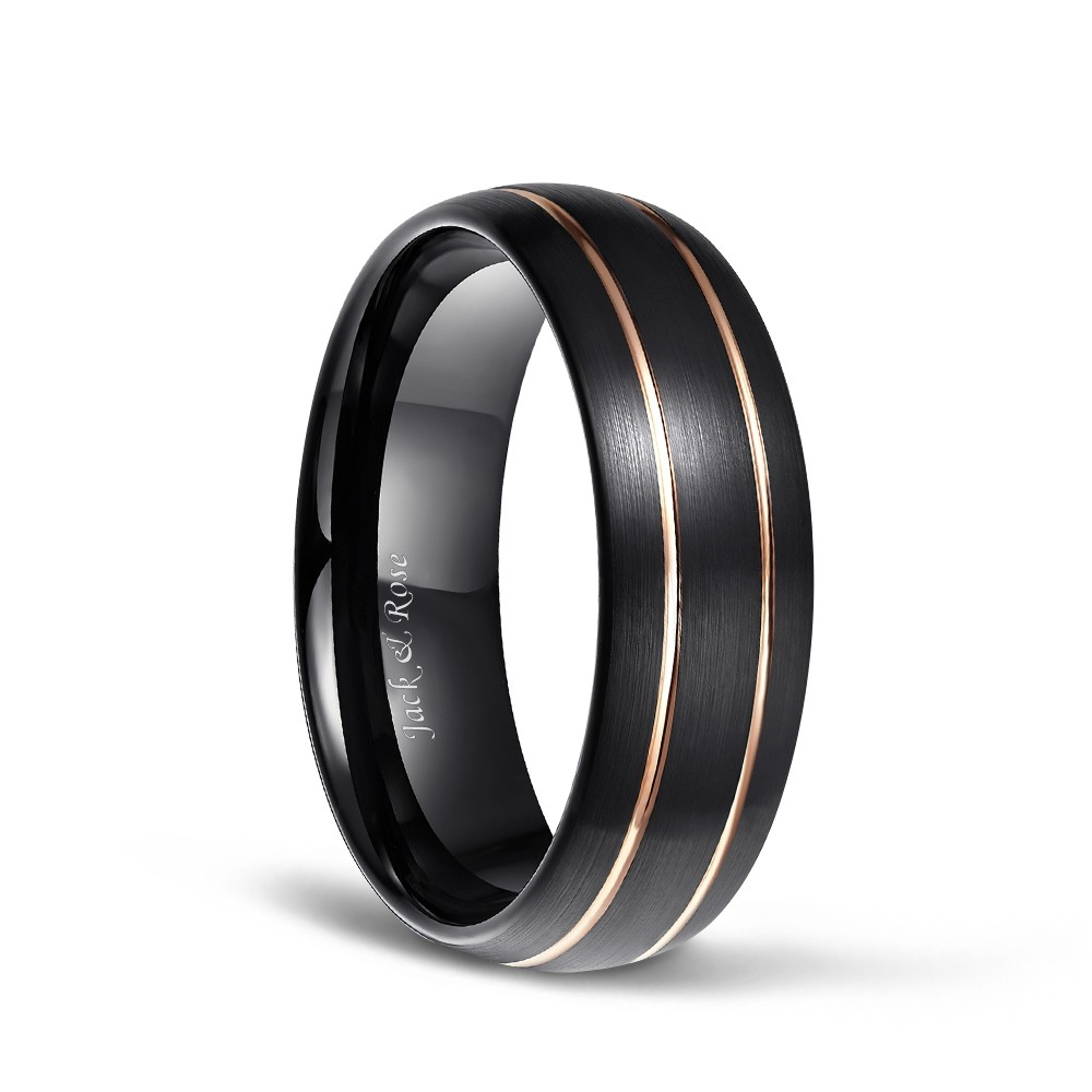 It is an image of Domed Brushed Black Tungsten Ring with Rose Gold Thin Grooved