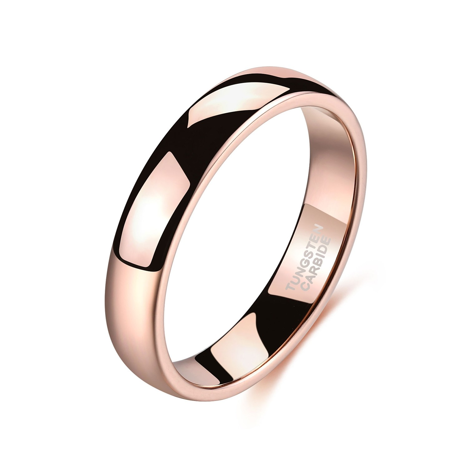 It is a picture of Rose Gold Tungsten Mens Womens Wedding Band Plain High Polished 42mm 42mm