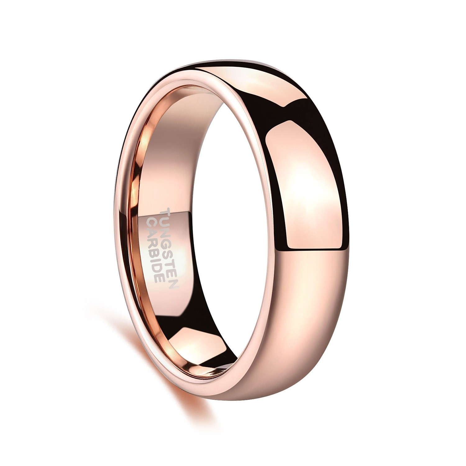 b5cfd676f013 ... Rose Gold Tungsten Mens Womens Wedding Band Plain High Polished 6mm ...