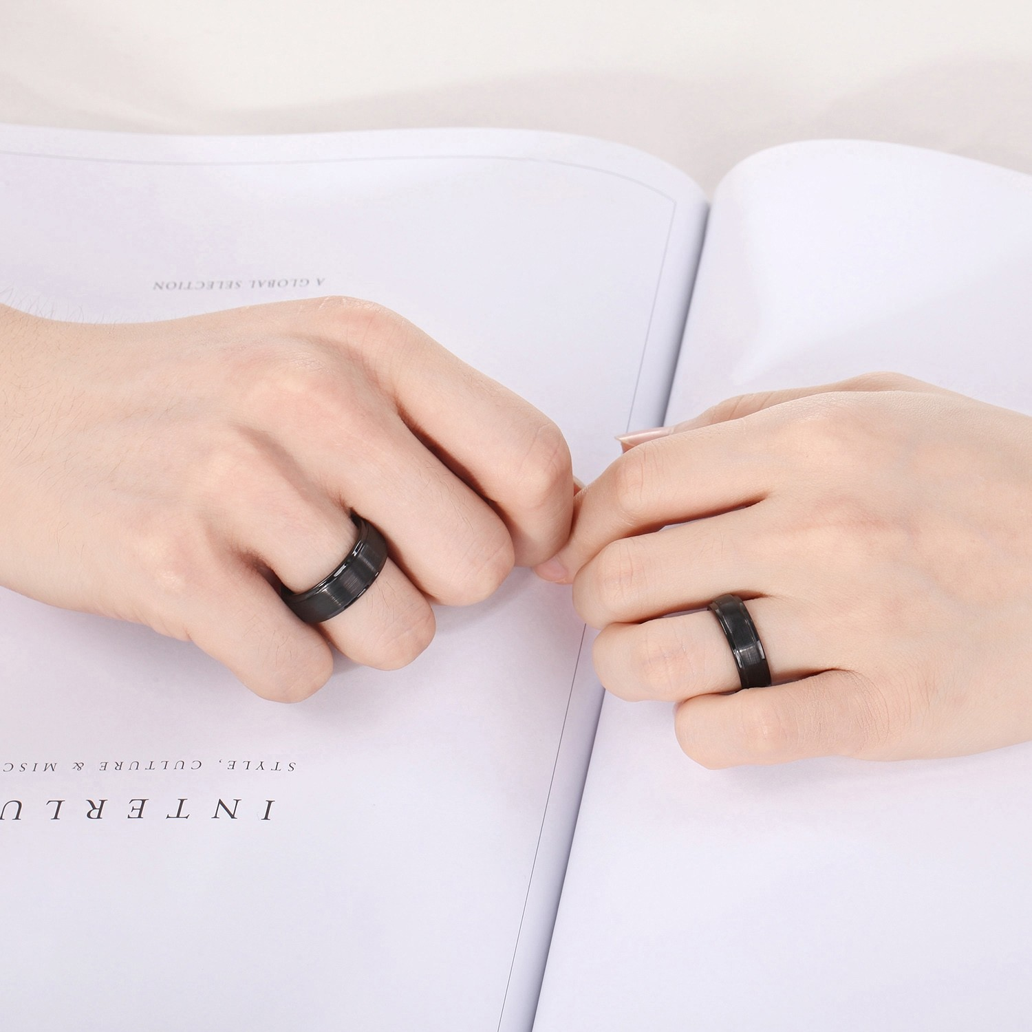 Brushed Tungsten Mens Wedding Bands Black Stepped Edge 6mm: 8mm Wedding Band Ring On Hand At Reisefeber.org