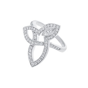 Sterling Silver Cz Wedding Rings Three Leaves Design