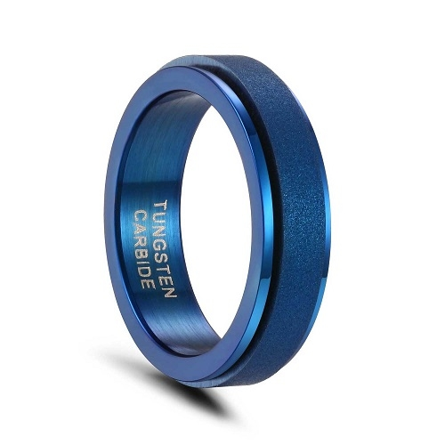 Blue Tungsten and Stainless Steel Wedding Rings Sandblasted Spinner Band