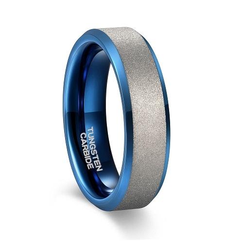 Mens Matte Wedding Rings with Blue Beveled Edge