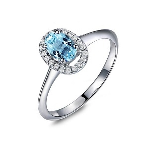 Sterling Silver Blue Topaz Ring Oval Cut
