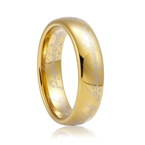 Lord of the Rings Golden Tungsten Ring High Polished