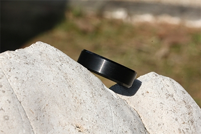 Black Tungsten Wedding Bands with Matte Brushed and Beveled Edges for Men Women