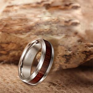 Silver Tungsten Carbide Ring Koa Wood Inlay Polished Vintage Style 6mm 8mm